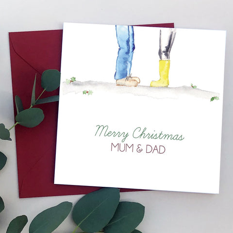 Mum & Dad Wellies Christmas Card