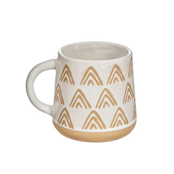 Triangle Relief White Mug