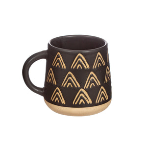 Triangle Relief Black Mug