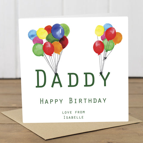 Personalised Daddy Balloons Birthday Card - Yellowstone Art Boutique