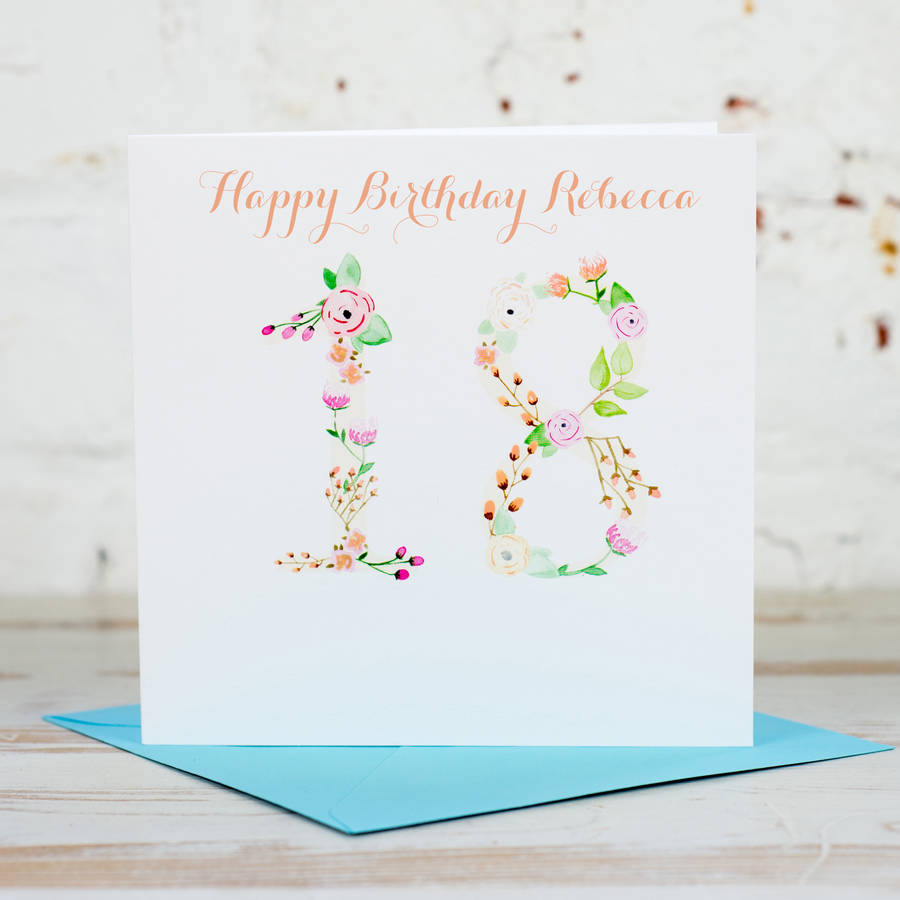 Personalised Floral Age 18th-100th Card - Yellowstone Art Boutique