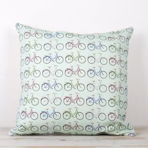 Mint Bikes Cushion - Yellowstone Art Boutique