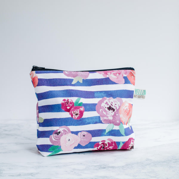 Floral Blue Stripe Wash Bag - Yellowstone Art Boutique