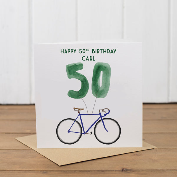 Personalised Bike Balloons Age 18th-100th Card - Yellowstone Art Boutique