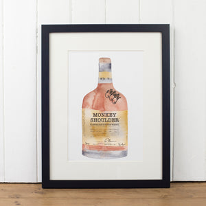 Monkey Shoulder Whisky Bottle Art Print - Yellowstone Art Boutique