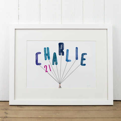 Personalised Name Balloons Art Print