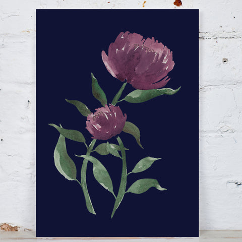 Navy Flower Art Print
