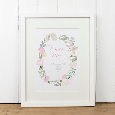 Personalised Floral Wreath Print - Yellowstone Art Boutique