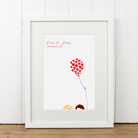 Personalised Heart on a String Balloon Print - Yellowstone Art Boutique