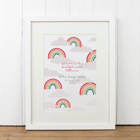 Personalised Rainbow New Baby Print - Yellowstone Art Boutique