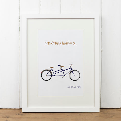Personalised Tandem Bike Print - Yellowstone Art Boutique