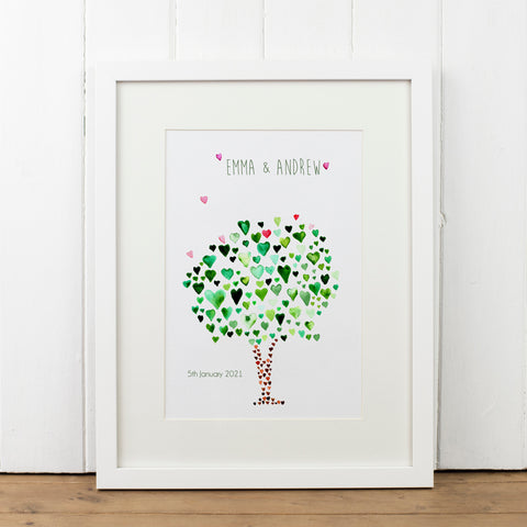 Personalised Green Tree Print - Yellowstone Art Boutique
