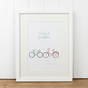 Personalised Two Bikes Print - Yellowstone Art Boutique