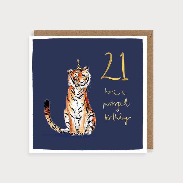 21st Birthday Tiger Card