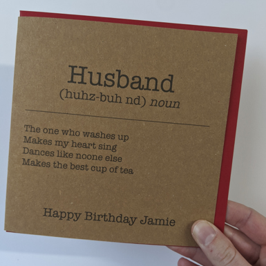 Personalised Husband Definition Card - Yellowstone Art Boutique