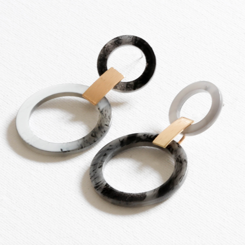 Alice Faux Horn Double Circle Statement Earrings - Yellowstone Art Boutique