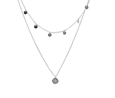 Linette Double Star Encrusted Charm Necklace