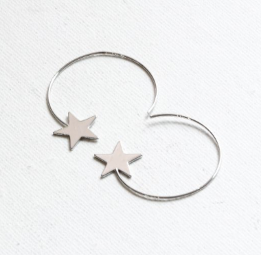 Vivianne Star Open Pull Through Hoop Earrings