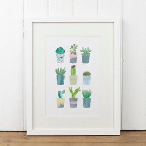 Succulents in Pots Art Print - Yellowstone Art Boutique