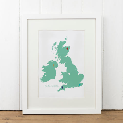 Personalised UK Map Heart Art Print