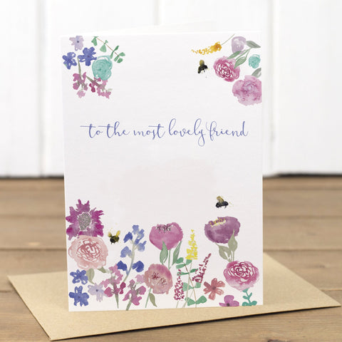 Lovely Friend Floral Happy Birthday Card - Yellowstone Art Boutique