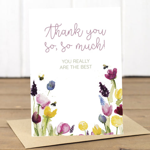 Thank You Floral Bees Card - Yellowstone Art Boutique