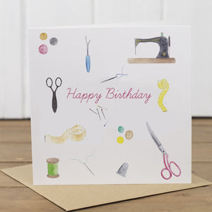 Sewing Happy Birthday Card - Yellowstone Art Boutique