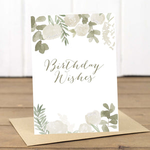 White Flowers Birthday Wishes Card - Yellowstone Art Boutique