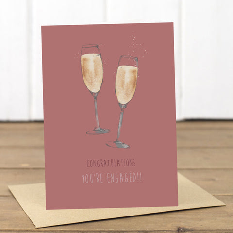 Engaged Champagne Card - Yellowstone Art Boutique