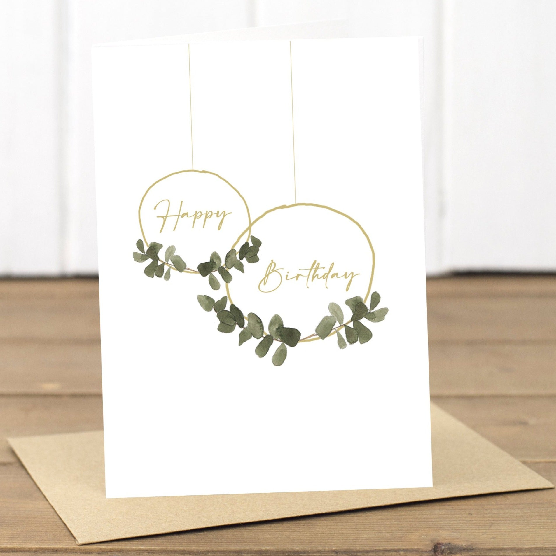 Happy Birthday Eucalyptus Hoops Card - Yellowstone Art Boutique