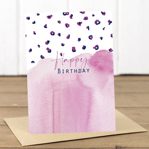 Pink Leopard Happy Birthday Card - Yellowstone Art Boutique