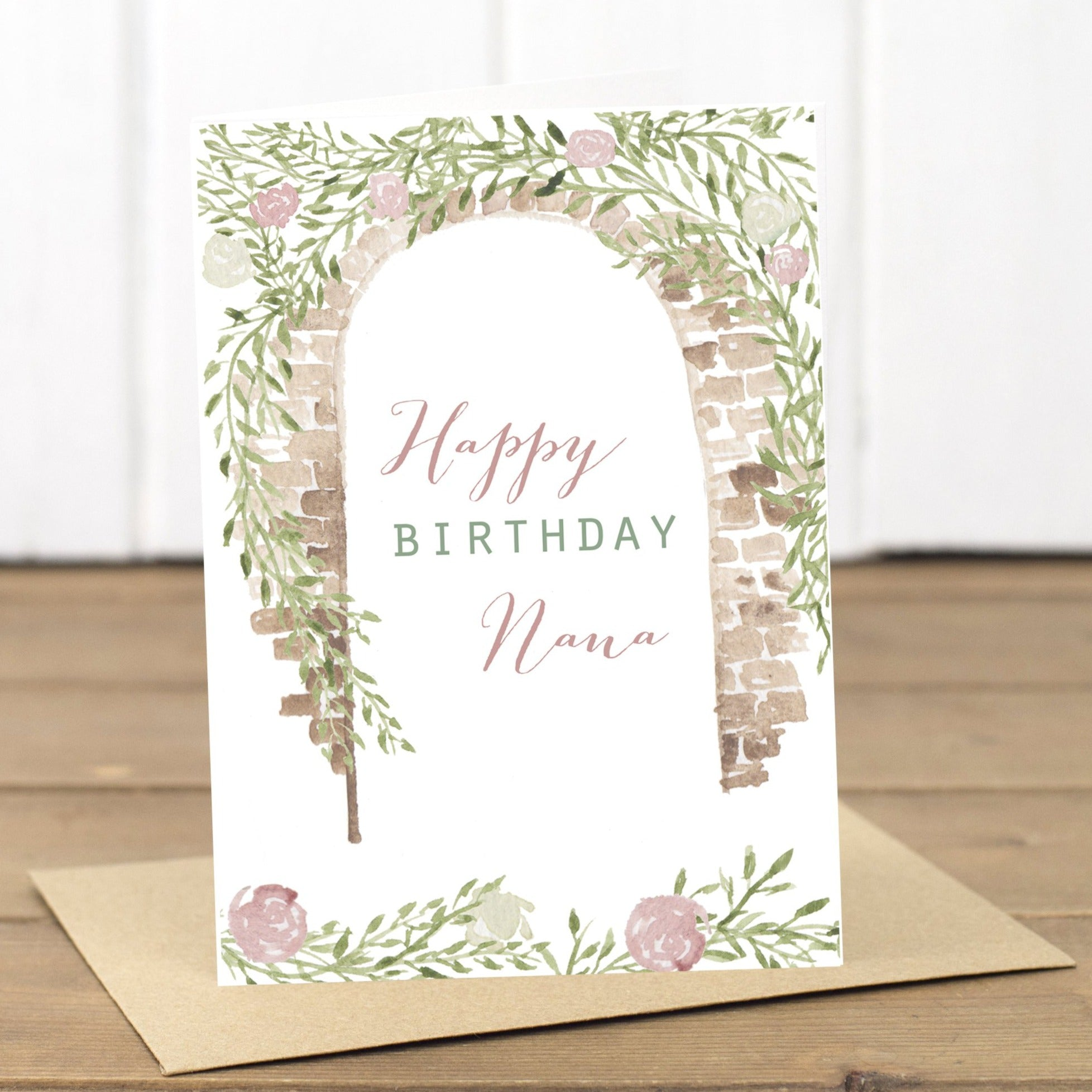 Nana Happy Birthday Floral Archway Card - Yellowstone Art Boutique