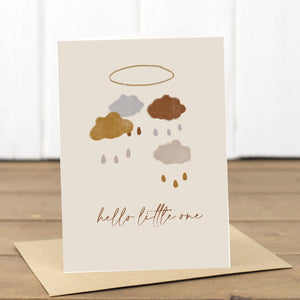 Hello Little One Unisex New Baby Card - Yellowstone Art Boutique