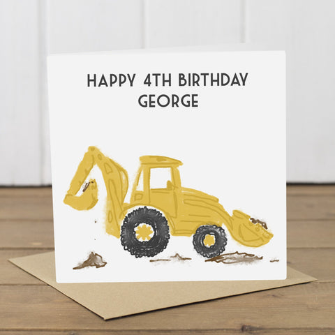 Personalised Yellow Digger Card - Yellowstone Art Boutique