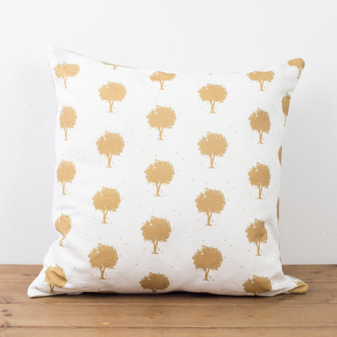 Gold Trees and Birds Cushion - Yellowstone Art Boutique