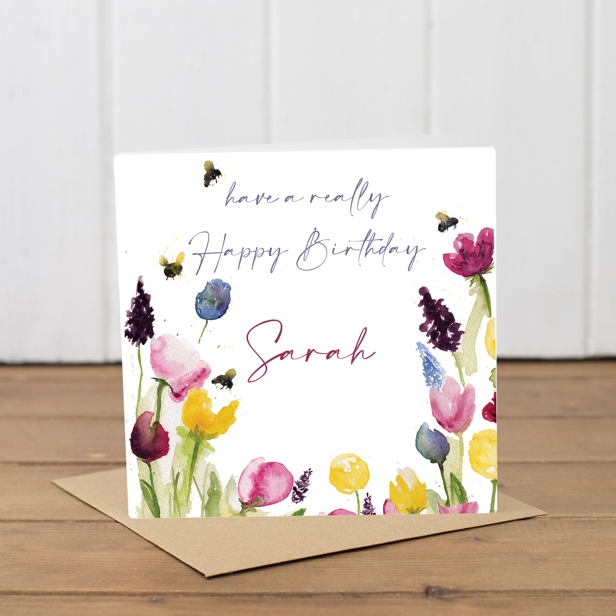 Personalised Flowers & Bee Birthday Card