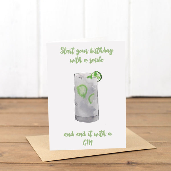Gin Happy Birthday Card - Yellowstone Art Boutique