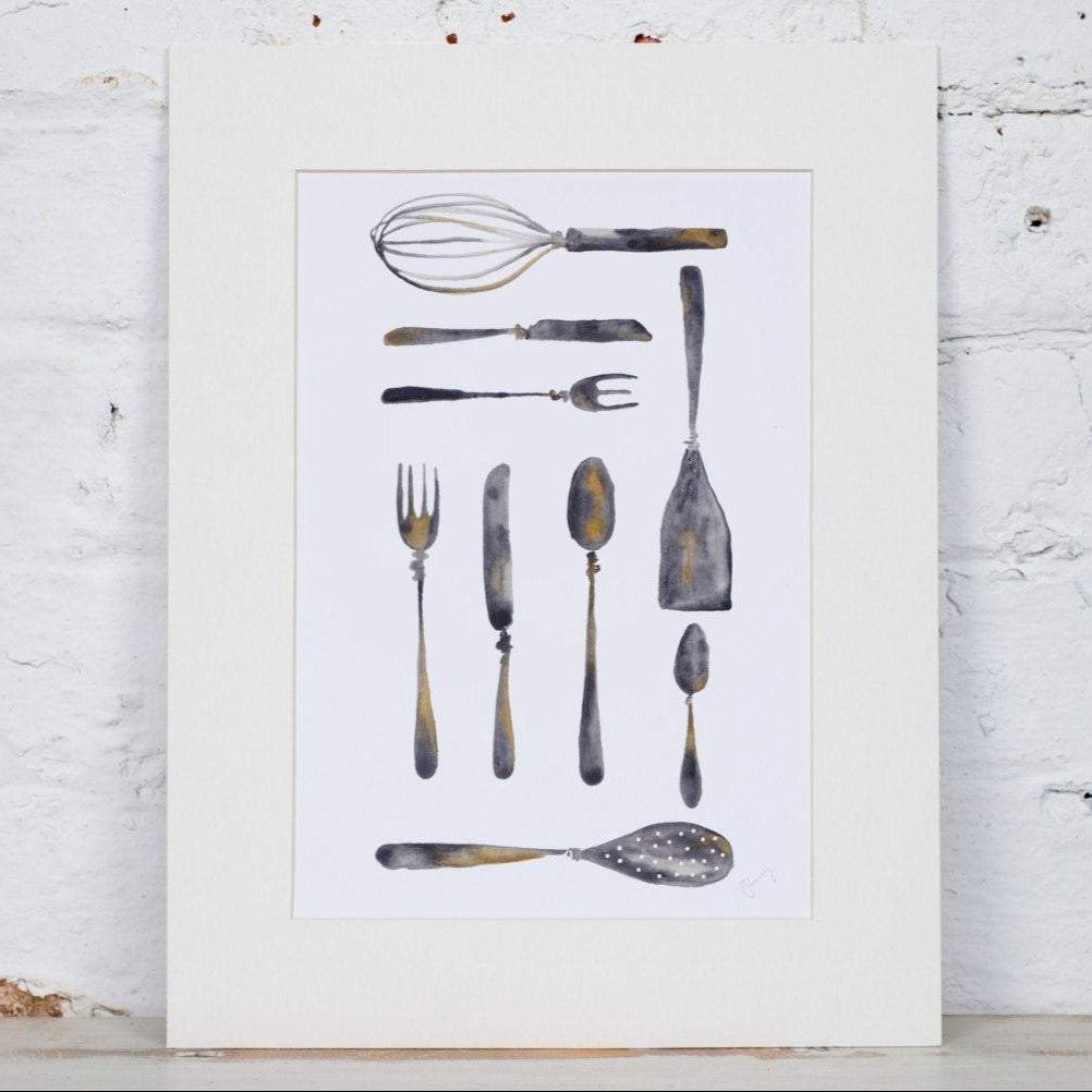Cutlery Grid Art Print - Yellowstone Art Boutique