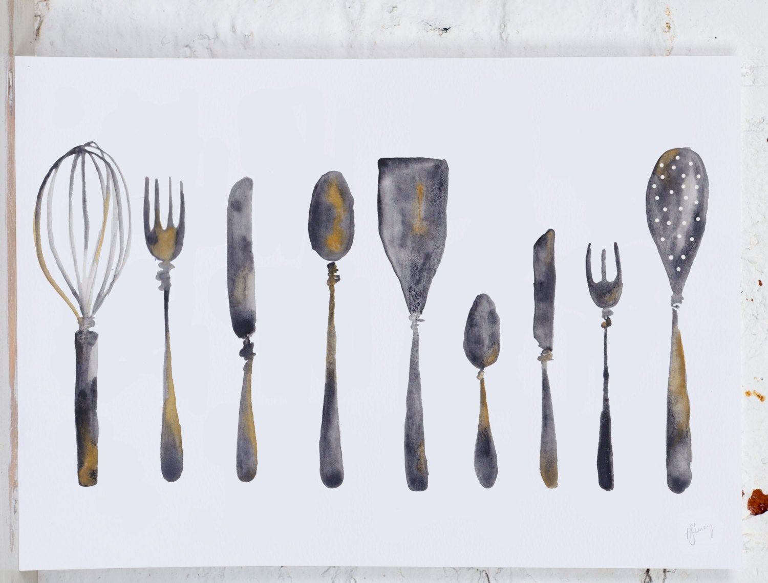 Cutlery and Utensils Row Art Print - Yellowstone Art Boutique