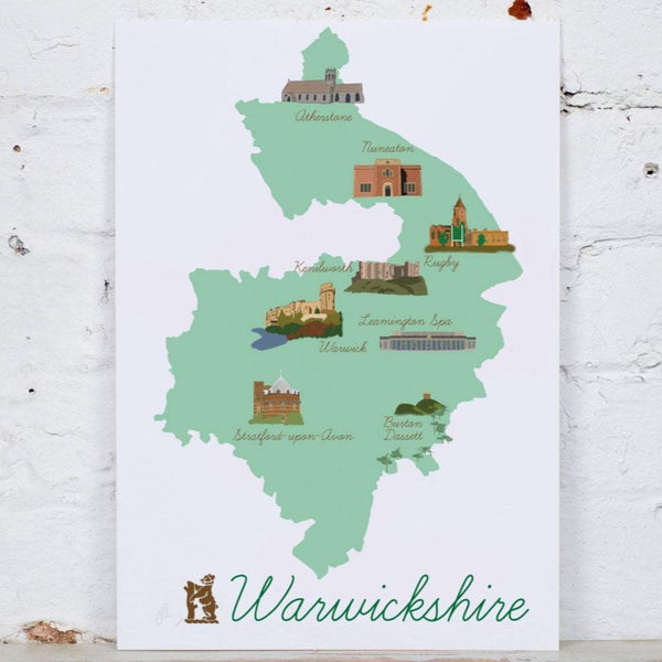 Warwickshire Map Art Print - Yellowstone Art Boutique