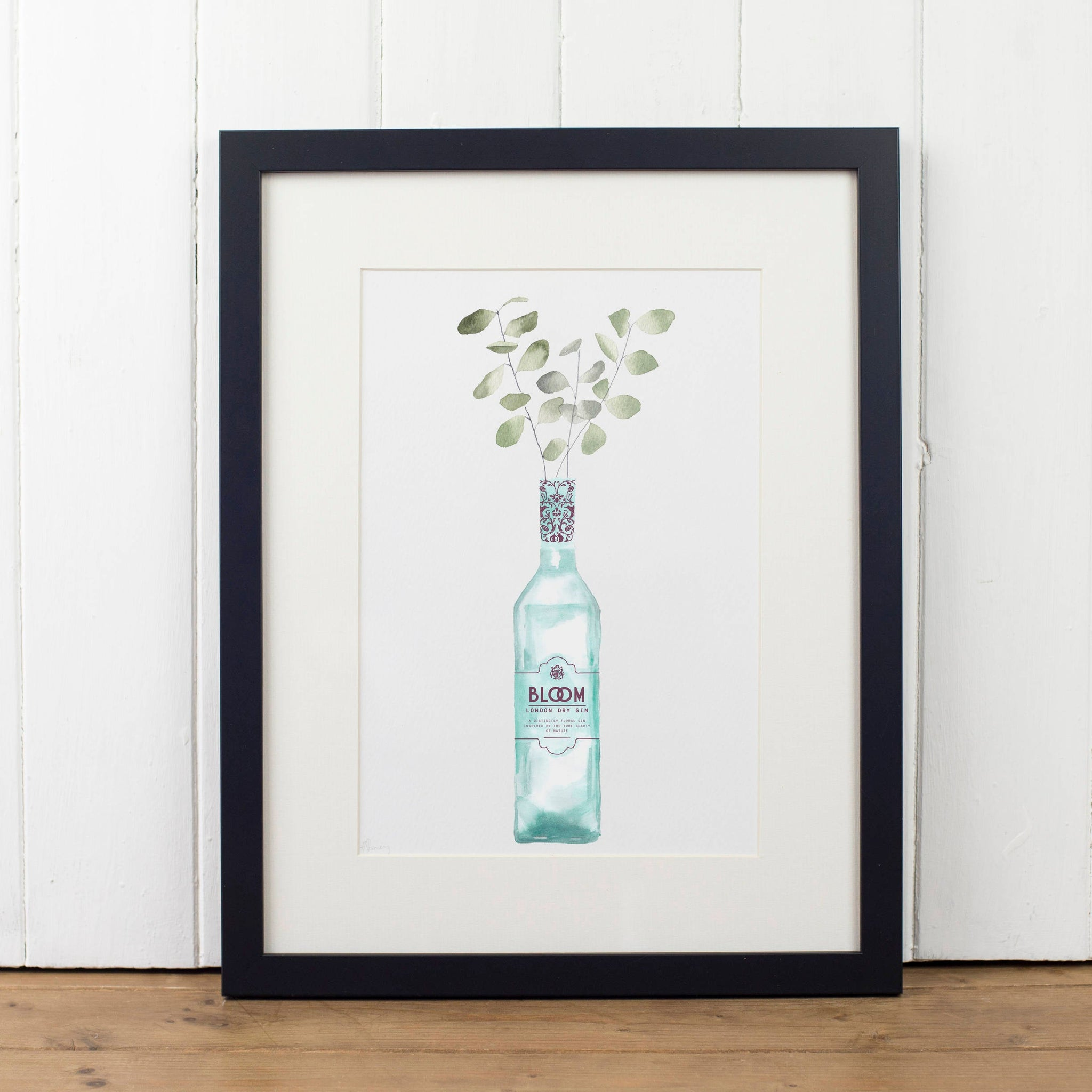 Bloom Gin Bottle Art Print - Yellowstone Art Boutique