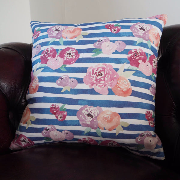 Floral Stripe Cushion - Yellowstone Art Boutique