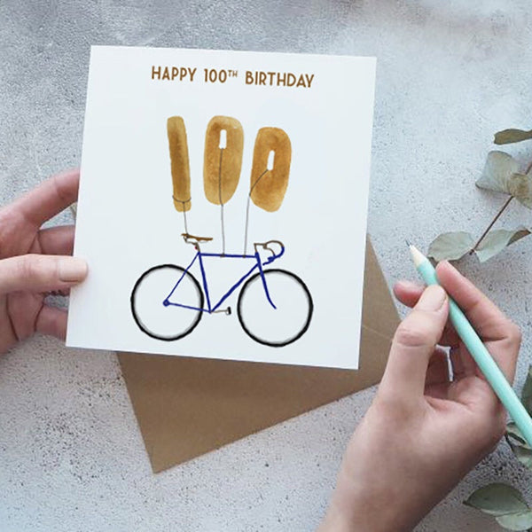 100th BIke with Balloons Happy BIrthday Card - Yellowstone Art Boutique