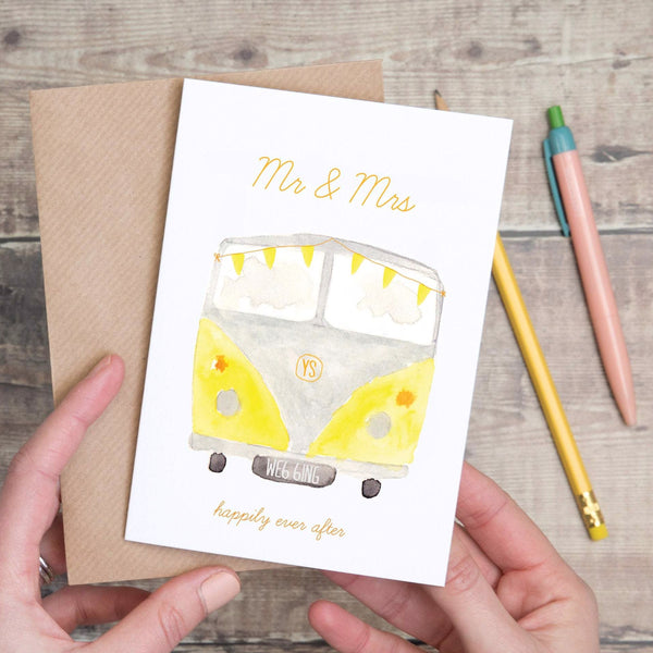 Yellow Campervan Wedding Day Card - Yellowstone Art Boutique