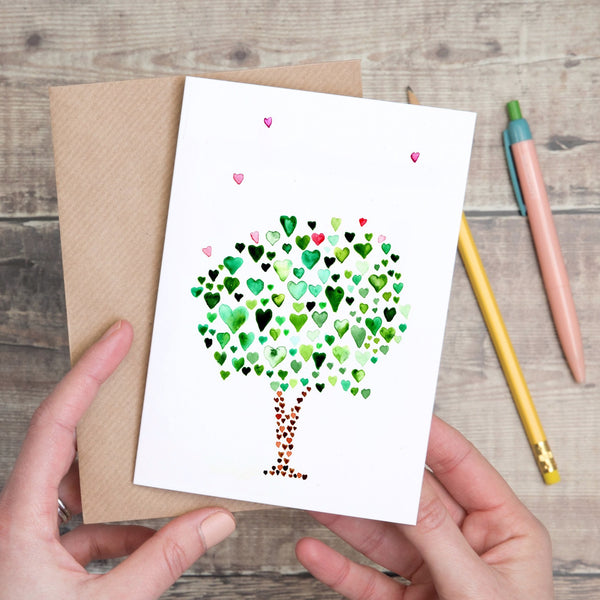 Blank Green Tree of Hearts Card - Yellowstone Art Boutique