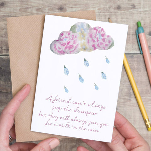 Stop the Downpour Cloud Sympathy Friendship Card - Yellowstone Art Boutique
