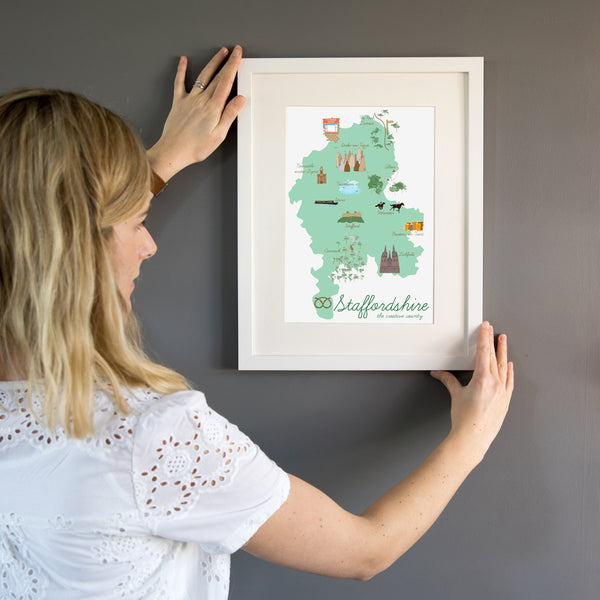 Staffordshire Map Art Print - Yellowstone Art Boutique