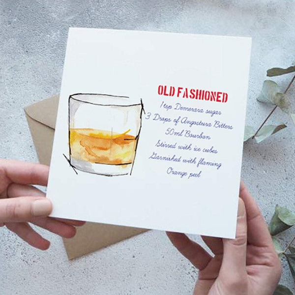 Old Fashioned Cocktail Recipe Card - Yellowstone Art Boutique