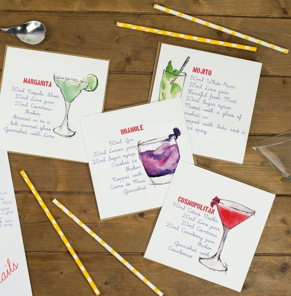 Cocktail Recipe Square Mini Prints / Wedding Table Names - Yellowstone Art Boutique