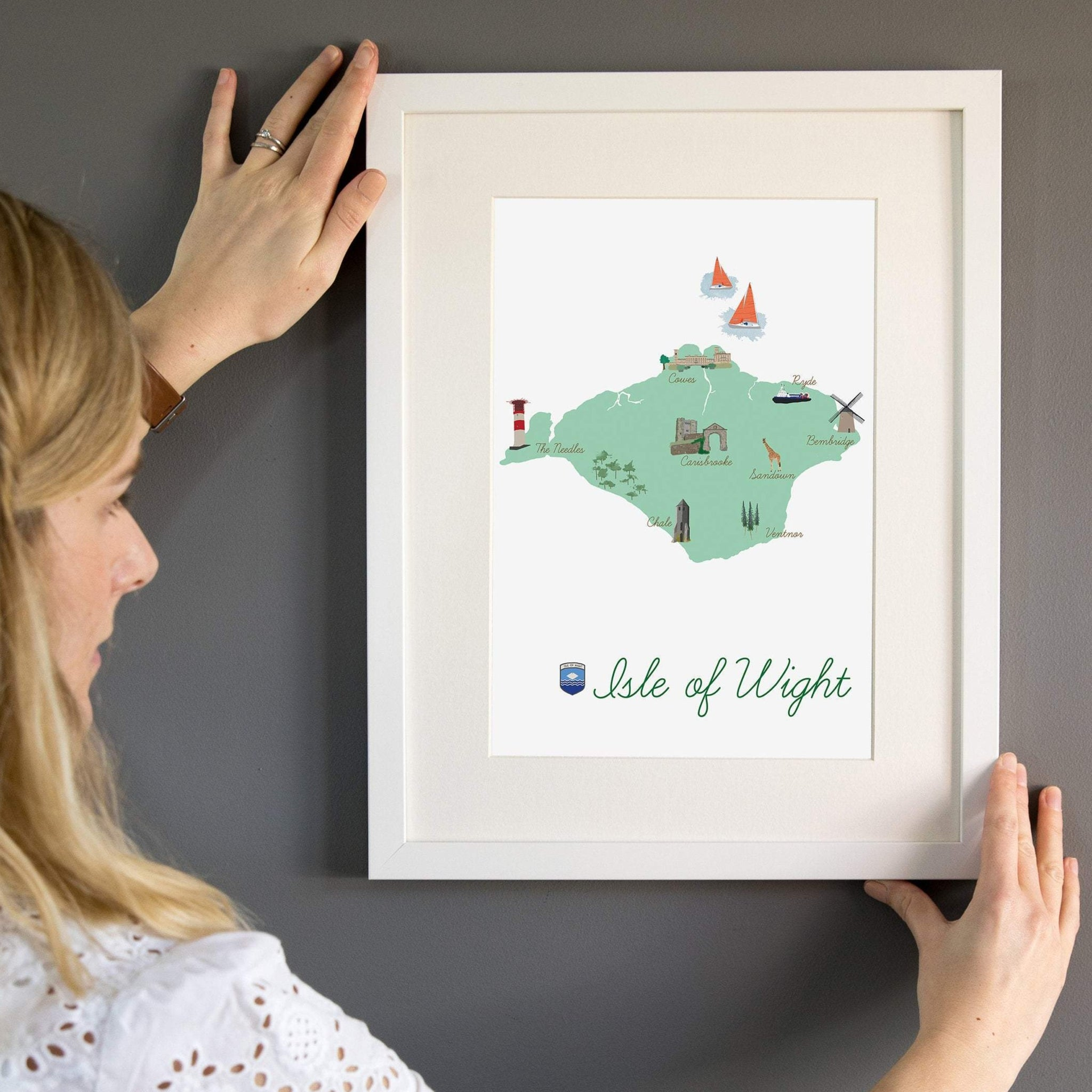 Isle of Wight Map Art Print - Yellowstone Art Boutique